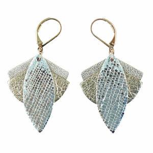 Boucles d'oreilles en cuir LOTUS Cristal – Ni une ni deux