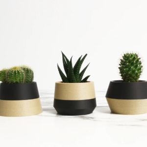 Trio cache-pots en bioplastic ( noir) – Ikon