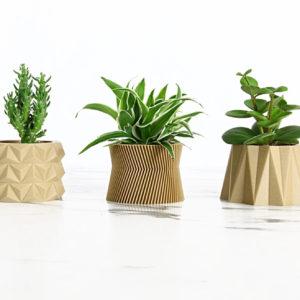 Trio cache-pots en bioplastic (nature) – Ikon