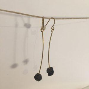 Boucles d'oreilles laiton et grès – Carole Péron