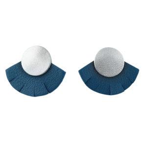 Puces d'oreilles en cuir SOLAIRE Marine – Ni une ni deux