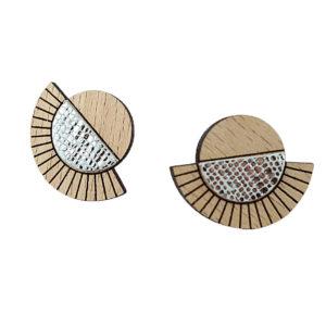 Puces d'oreilles en bois et cuir AZTÈQUE Cristal – Ni une ni deux