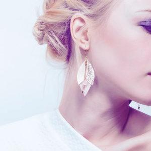 Boucles d'oreilles en cuir TULIPE Cristal – Ni une ni deux