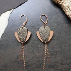 Boucles d'oreilles en bois et cuir Magnolia kaki – Ni une ni deux